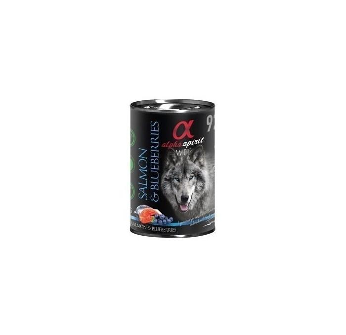 Lata de Comida Natural Alpha Spirit Salmón y Cerezas, 400gr