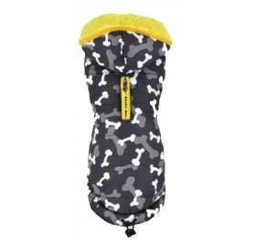 Chaqueta para Perros Camuflabones gris con borreguito suave amarillo