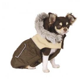 Abrigo para Perro Bicolor con Capucha Marrón y Beige