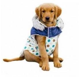 Abrigo para Perro Blanco con lunares Lovely